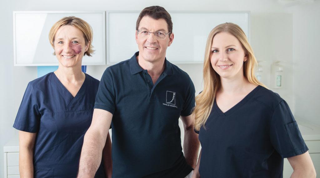 Zahnärzte-Team Dr. med. dent. Sonja Bischoff, Dr. med. dent. Thomas Wölfel und Christine Will aus Nürnberg-Mögeldorf
